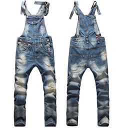 Wholesale Men S Denim Overalls - Fashion Ripped Mens Bib Overalls Jeans 2016 Brand Designer Slim Distrressed Mens Denim Jumpsuit Jeans Blue Pants For Man