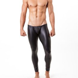 Wholesale Mens Long Sexy Underwear - Wholesale-New 3 color mens long pants tight fashion hot black Faux leather sexy boxer underwear sexy panties trousers fashion nightwear
