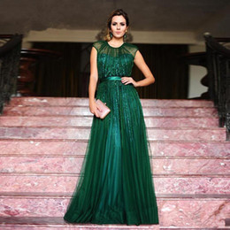 nude slim evening dress Coupons - 2017 Emerald Green Jewel Neck Tulle Long Evening Dress With Slim Sash Cap Sleeve Floor Length Mother Dress Formal Wear