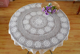 white linen table cloth Canada - 130cm Round table linen, Hand crochet white table cloth table topper for home decorative 100%handmade coasters af016