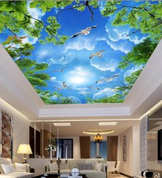 Grüne blätter tapete online-Heimwerker Decken Wandbilder Wallpaper Blauer Himmel weiße Wolken grüne Blätter Wall Covering Papier