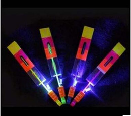 Wholesale Copter Rocket - Flash Copter Amazing LED Light Up Arrow Rocket Helicopter Rotating Flying Toy Party Fun Gift Red and blue double flash