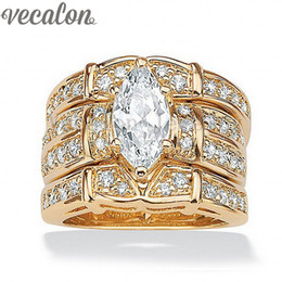 Wholesale Yellow Gold Wedding Rings Set - Vecalon Classic Jewelry Marquise Cut 2ct Cz diamond Wedding Band Ring Set for Women 14KT Yellow Gold Filled Enagement ring Gift