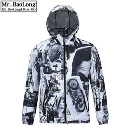 Wholesale Modern Clothing Patterns - Wholesale- 2017 Hip Hop Brand Waterproof 3D Jacket Men Trench Clothes Outwear Cool Coats Modern Times Black and White Retro Windbreaker