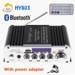 2019 entrada de adaptador 12v HY803 Mini Amplificador Amplificador Do Carro Do Bluetooth Amplificador 40 W + 40 W FM MICROFONE MP3 upport AC 220 V ou DC 12 V de entrada Com adaptador de energia desconto entrada de adaptador 12v