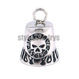 Wholesale Stainless Biker Necklaces - Free Shipping! Fashion Christmas Gift Motor Biker Bell Pendant Stainless Steel Jewelry Skull Bell Pendant SJP330078B