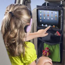 Wholesale Mesh Seat Cover - Black Storage Bag Child Car Seat IPad Hanging Bags Elastic Mesh PVC Film Pocket Hot Sale 6 5mn B R