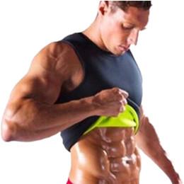 Wholesale tightest shapewear - Wholesale- Slimming male Vest Neoprene Hot Shapers body Shaper Men T shirt sweat suits waist Belt Waist Trainer tights Corsets shapewear