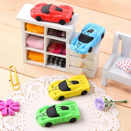 Wholesale Car Shaped Erasers - Fashion 10pcs Car Shape Eraser Mini Kid Student Eraser Free Shipping Children Gift Prize High Quality New Stationery