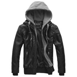 2019 chaquetas de cuero con capucha para hombre Moda otoño invierno chaqueta para hombre de la marca de cuero de la PU chaqueta con capucha de los hombres de la motocicleta abrigo de gran tamaño hombres chaquetas de cuero chaquetas de cuero con capucha para hombre baratos