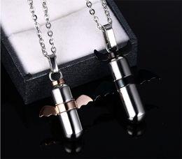 Wholesale Necklace Rose Gold Couple - black plating and rose gold plating Evil wings Love Couple Necklace for Men Women Necklaces Lovers Pendants Jewelry