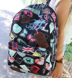 Wholesale Female Computer Bags - Fashion unisex canvas backpack school bag computer laptop book bags badge cartoon printed backpack male and female students backpack