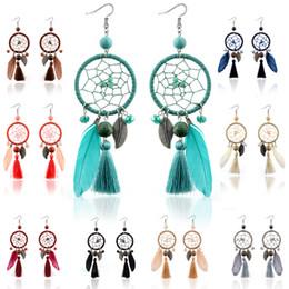 Wholesale Long Red Feather Earrings - ethnic style long earrings feather tassels dream net twine ear pendant drop earrings accessories bohemian jewelry for women