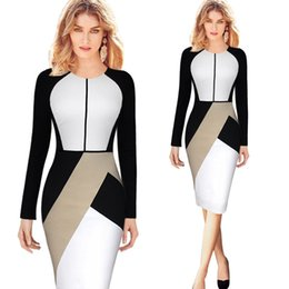 Wholesale Hot Pink Pencil Dress - The Hot Quality new Fashion Women dress long sleeved stitching back long zipper slim package hip Work dress Free shipping.