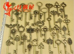 Wholesale Mixed Charms Metal Bronze - Manufacturers wholesale 36 models mixed lot DIY Retro Metal Jewelry Parts antique bronze zinc alloy large key charms and pendant