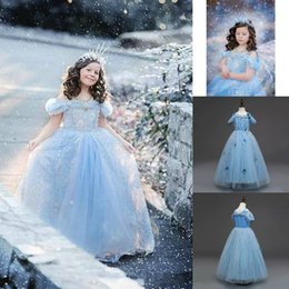 Wholesale White Princess 3d Cartoons - 2018 The Snow Queen Halloween Costume Cartoon Princess Christmas Flower Girl Dresses 3D Floral Butterfly Baby Gown Girl's Lace Pageant Dress