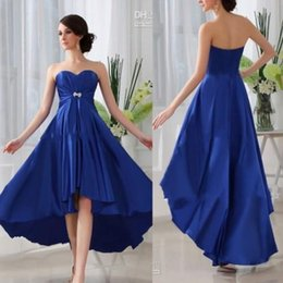 Wholesale Fashion Pastels - Royal Blue Sweetheart High-low Skirt Elastic Satin Cheap Bridesmaid Dresses 2016 Fashion Simple Prom Gowns Formal Evening Dresses BA2382