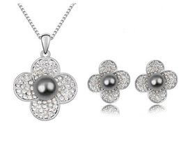 Wholesale Grey Earrings - White Gold Plated CZ Crystal Diamante Flower and Grey Pearl Center Necklace and Stud Earrings Jewelry Sets