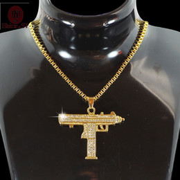 Wholesale Silver Gothic Jewellery - Hiphop Jewelry Gothic Gold Chain Necklace Submachine Gun Choker Necklace Collar Cs Go Hip Hop Friendship Women Men Jewellery