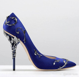 Wholesale Blue Beaded Heels - 2017 pink blue satin bridal wedding Bridal high heel shoes eden pumps high heels with leaves shoes for evening prom party