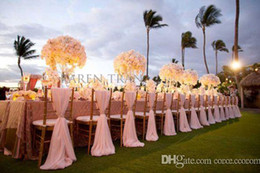 Wholesale Banquet Decorations - 2017 Popular Simple Elegant Chair Sashes Royal Chiffon Wedding Banquet Romantic Bridal Party Chair Back Cover Decoration Wedding Favors