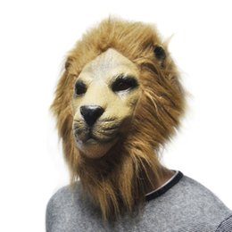 Wholesale Lion Adult Costumes - Halloween Adult Latex Lion head Mask Party Costume Prop