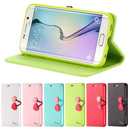 Wholesale Cute Chinese Wallets - New Lovely Cherry Case for Samsung Galaxy S7  S7 Edge Flip Wallet Stand Cute Leather Cover With Card Slot for iPhone6 plus