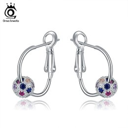 Wholesale bead hoop earring - ORSA New Arrival Silver Hoop Earring with a Colorful Zircon Crystal Bead Silver Jewelry Wholesale OE108