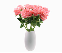 Wholesale Real Red Rose Bouquet - Wholesale 50PCS 20.5inch Artificial white pink rose bouquets real look silk rose Flowers 7 color mix decorative hotel Wedding Home Decor