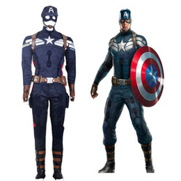 Wholesale Mens Super Costumes - New Hot Captain America 2 The Captain America Outfit Mens Suits Cosplay Costume Movie Superheros Uniform Custom Made