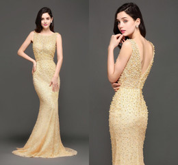 Wholesale Trumpet Shaped Prom Dresses - Luxury Champagne 2018 Pearls Mermaid Evening Dresses Bateau Neck V Shape Backless Prom Gowns Cheap Robe de Soire CPS603