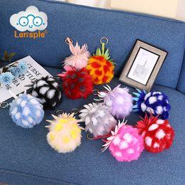 Wholesale Imitation Fruit - Wholesale- Lensple Cute Pineapple Strawberry Keychain Imitation Big Wool Ball Pendant Fashion Charm Ladies Bag Decor Best Gifts For Lover