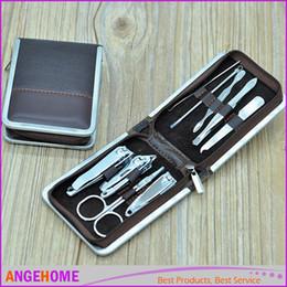 Wholesale File Storage Case - Portable 9pcs Set Steel Nail Art Manicure Set Nail Care Tools with Mini Finger Nail Cutter Clipper File Scissor Tweezers, With Storage Case