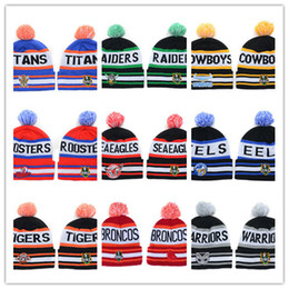 Wholesale Cool Winter Beanies - Hot all Beanies Cool Pom Pom Beanies Knitted Beanie Hat Fashion Skull Caps Leisure Hats Warm Winter Hats NRL Beanies Cap for Men and Women