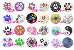 Wholesale Stone Necklace Clasp - Interchangeable 18mm Cabochon Glass Stone Buttons Cabochon Animal Pawprint Snap Button for Noosa Snap Bracelet Necklace Ring Earrings