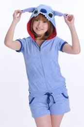 Wholesale Stitch Romper - SS New Arrival Cosplay Cute Blue Stitch Lilo & Stitch Unisex Summer Cotton Cosplay Onesie Jumpsuit Short Sleeve Romper