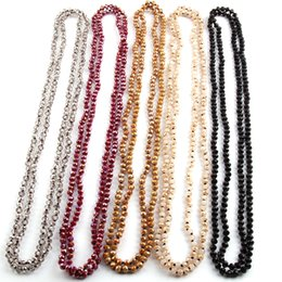 Wholesale 6mm Crystals - Free Shipping Fashion Bohemian Tribal Jewelry 6mm Crystal knotted long Halsband Glass Crystal Necklace