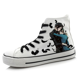 Мужская обувь онлайн-Wholesale-Men Women Anime Black Butler Hand Painted Canvas Shoes High-Top Boys Girls Graffiti Cartoon Shoes Cosplay Flat Shoe