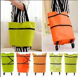 Wholesale Wheel Shopping Trolley - Foldable Shopping Trolley Bag Wheels Grocery Shoulder Tote Handbag Folding Trolley Bag Reusable Shopping Bag LJJK794