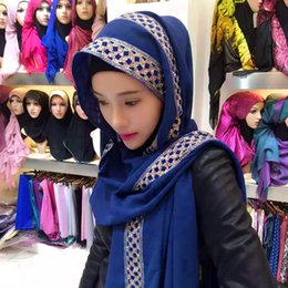 Wholesale Embroidered Scarf Chiffon - Women Hijab Scarf scarves Girl Summer Muslim Headscarf Patchwork Muslim Female Scarf Headscarf Scarves 2017 HOT SALE