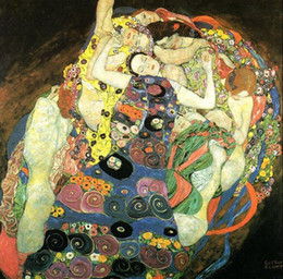Wholesale gustav paintings - Gustav Klimt - Maiden Young girls portraits,Free Shipping,Pure Hand-painted Figure Art oil painting On Canvas in any size customized
