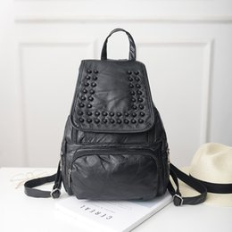 Wholesale Bags School Sheep - hot sale! sheep genuine leather backpacks style Rivet fashion bag black goatskin casual school Satchels Bags girl's favorite