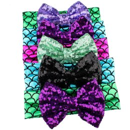 Wholesale Big Sequin Bow Headbands - 2017 5'' Big Messy Sequins Bow Glitter Metallic Mermaid Headband,Girls And Kids Mermaid Hairbow Hair Band Hair Accessories.10pcs\