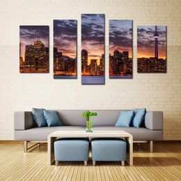 Wholesale Scene Wall - 5 Picture Combination Wall Art Painting Night Scene Pictures Prints On Canvas City Decor Oil For Home Modern Decoration Print