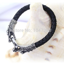Wholesale 14k White Gold Bracelet Men - 3 Size Leather Tibetan Silver Men Bracelet Titanium Fashion Vintage Jewelry Accessories Parataxis Dragon Bracelet Men Jewelry