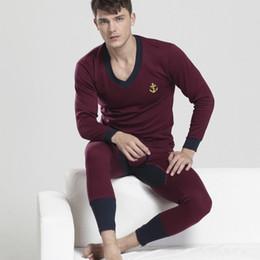 Wholesale Long Johns Sets For Men - Wholesale-1 set(tops&pants) men's deep V-neck Invisible winter thermal underwear warm cotton long johns for men soild color