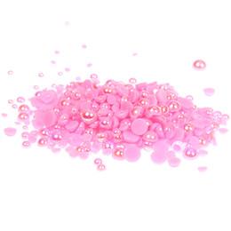 Wholesale Pearl Rose Flatback - Light Rose AB Half Round Pearls 1000 500pcs 2-5mm And Mixed Sizes Imitation Flatback Glue On Resin Beads DIY Craft Embellishment