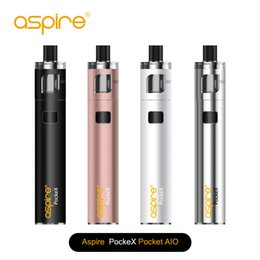 Wholesale Ecigarette Starter - Original Aspire PockeX Pocket AIO Starter Kit all-in-one ecigarette with 1500mAh battery and 2ml pockex atomizer nautilus x coil .6ohm