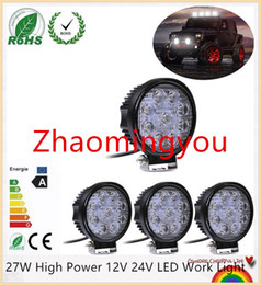 Wholesale Power Beam Motorcycle - 10PCS 27W High Power 12V 24V LED Work Light Round LED Offroad Light Lamp Worklight for Off road Motorcycle Car Truck
