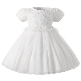 Wholesale Christening Gowns For Newborns - Wholesale- Formal christening Baby Girl party Dress for Girls Princess Dresses Newborn 1 year birthday tutu infant dress Baby Girl Clothes